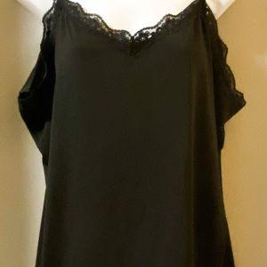 Fashion Bug 1x spaghetti strap black cami silky